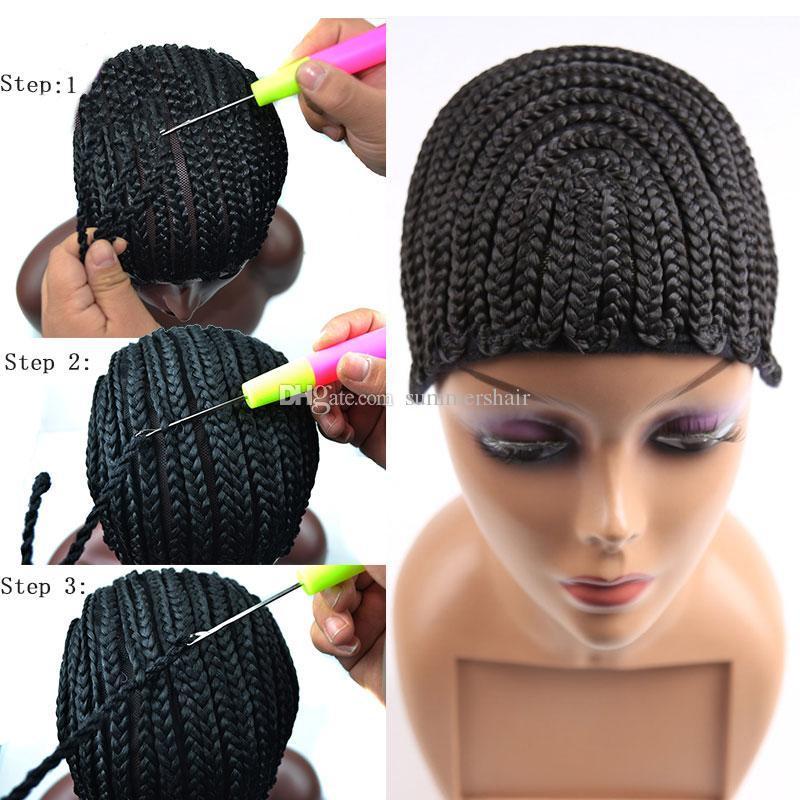 Bom Cornrows Cap Para Mais Fácil de Costurar Em Peruca Trançada Caps Crotchet Cor Preta Crochet Tranças Peruca Cap Tecer Tecer Para Fazer Peruca