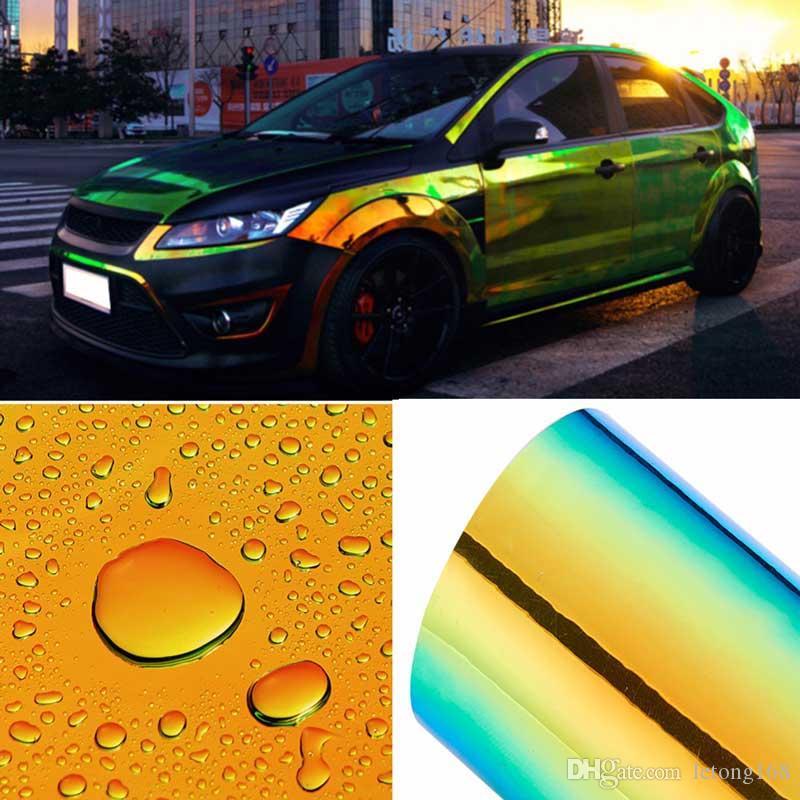تغيير لون الحرباء السيارات ملصقات لامعة اللون DIY جسم السيارة أفلام الفينيل التفاف السيارة ملصق الهواء الإصدار السينمائي