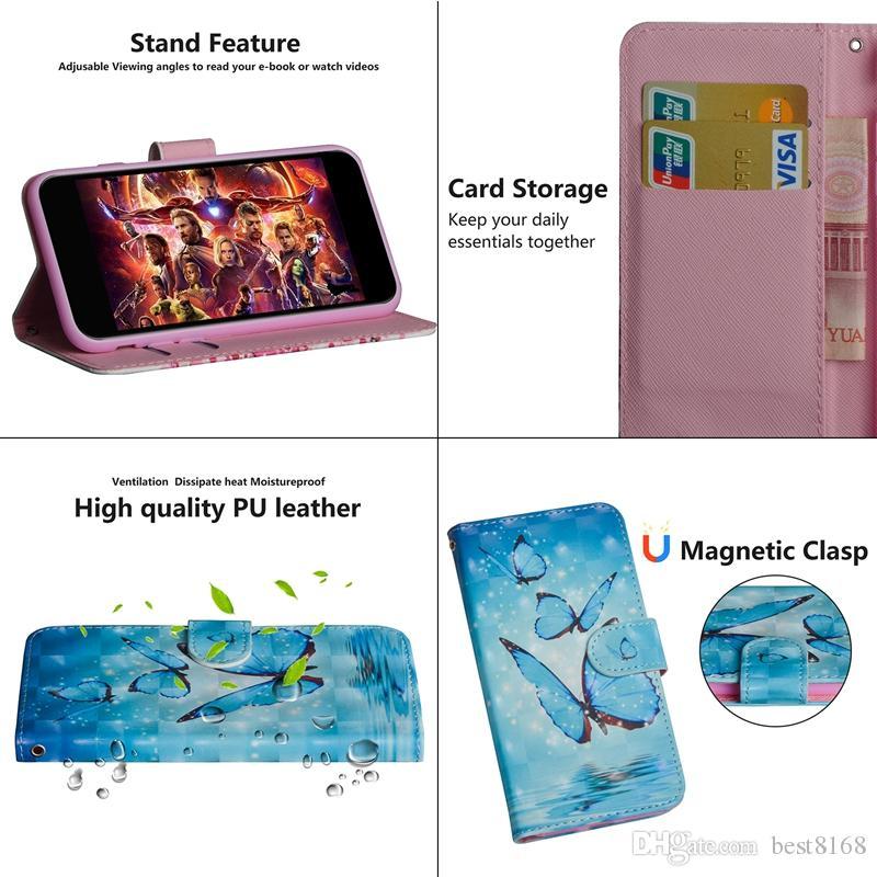 3D кожаный бумажник чехол для мото G7 Play Power Huawei Y7 Y6 2019 Nova 4 LG G8 ThinQ LV5 волк кружева цветок мультфильм панда бабочка откидная крышка
