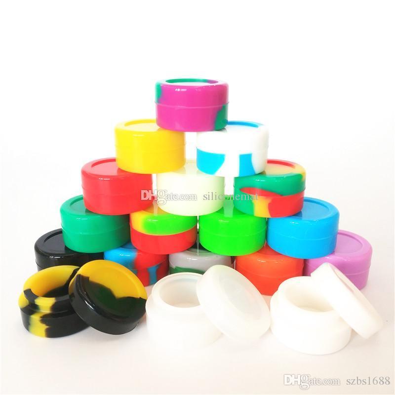 10pcs / Yuvarlak mum ot bho bal Dabs yeniden yapışmaz Silikon Kavanozlar için çok 5ml Mini çeşit çeşit renk silikon konteyner