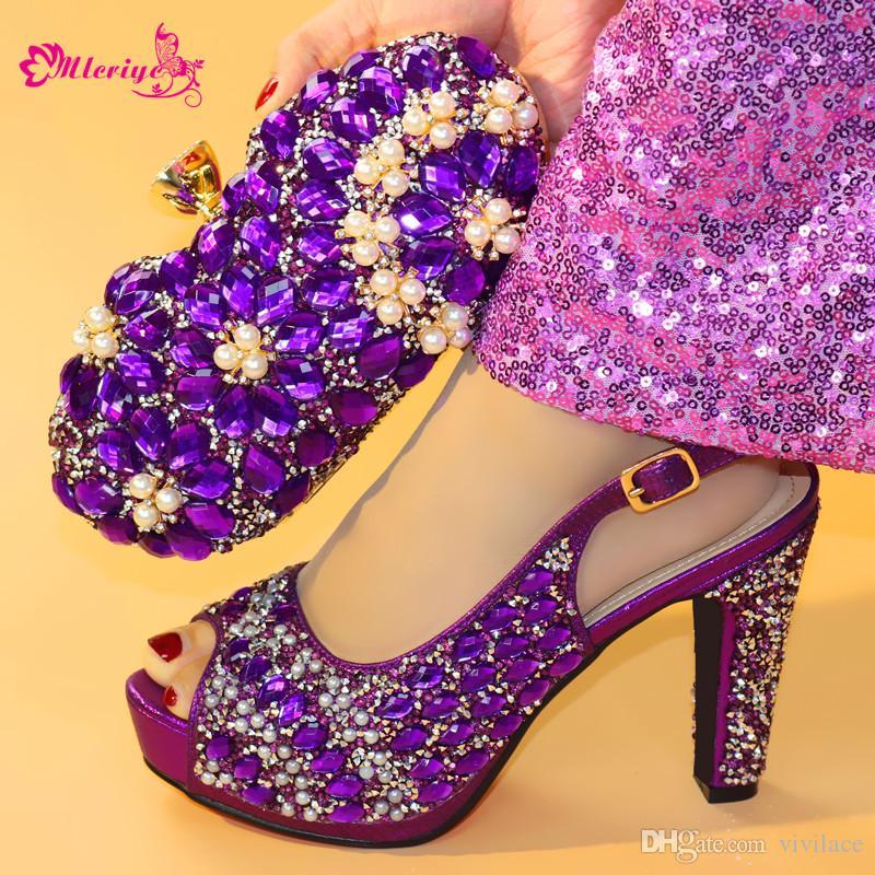 Женская итальянская обувь и сумка для женщин Высокие каблуки Италия Набор обуви и сумок, украшенный аппликациями Высокие каблуки Элегантные женские туфли на высоком каблуке