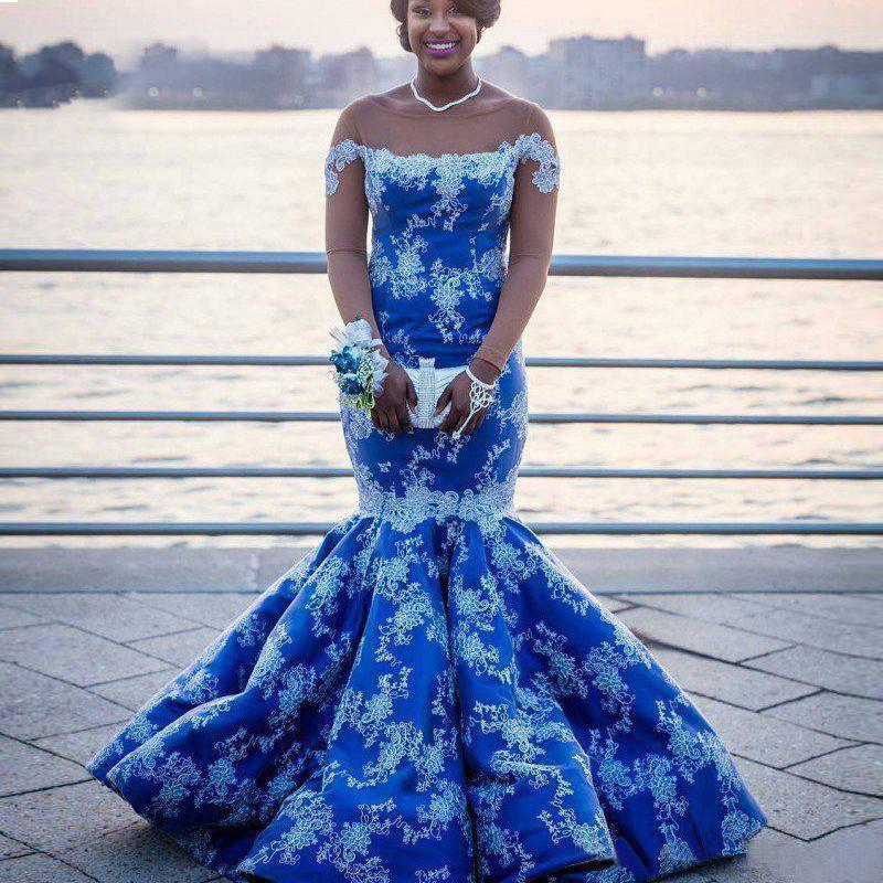 Royal Blue Long Sleeves Mermaid Evening Dresses Sheer Neck Appliques Lace White African Prom Dresses Aso Ebi Plus Size Evening Gowns