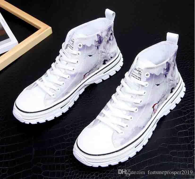 Erkekler Moda altın Mavi Yüksek Üst Hip Hop Sneakers Erkek Gençlik Eğilimleri Boş Ayakkabı üzerinde Casual Ayakkabı İlkbahar Sonbahar Kayma yazdırmak