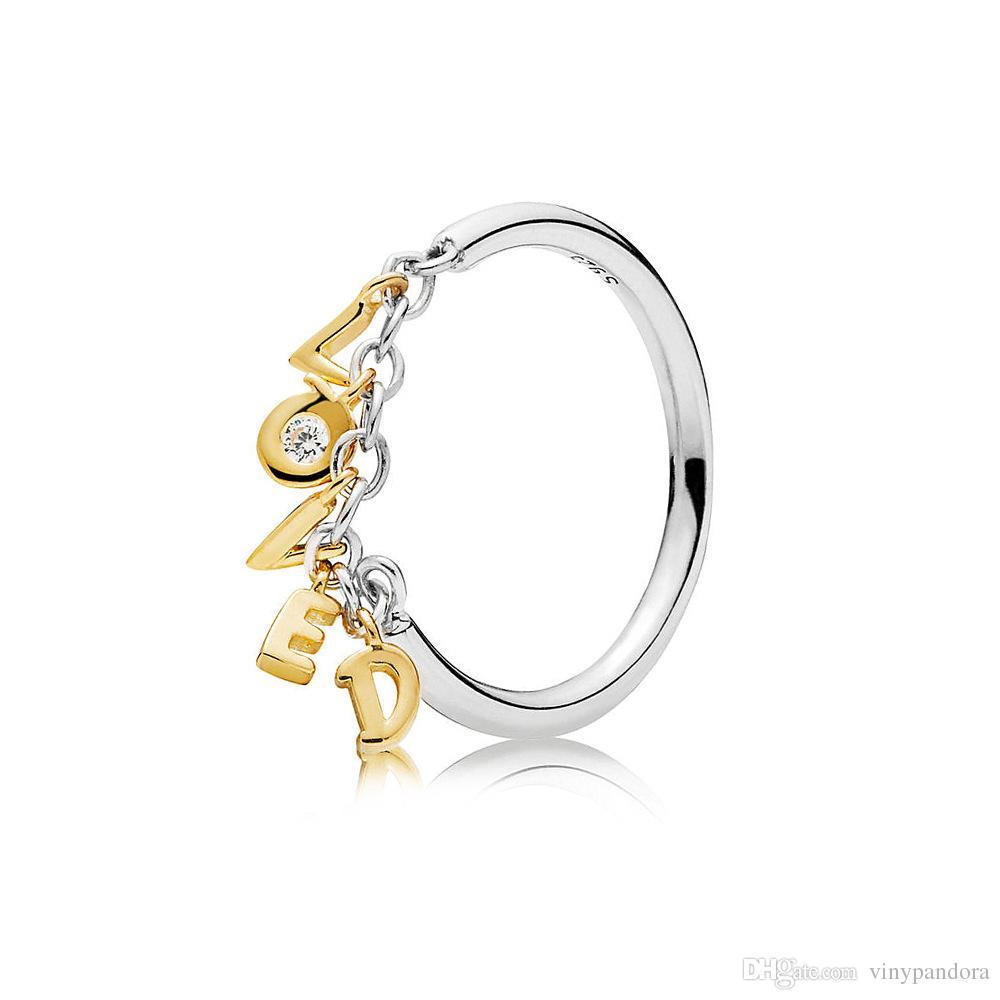 100% 925 Sterling Silver Shine Love Script Anneau Fit Pandora Bijoux Fiançailles Amoureux De Mariage Anneau De Mode
