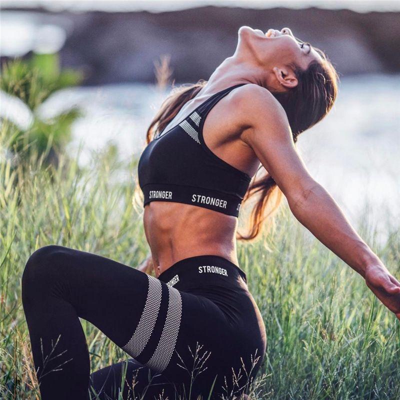Empuje rayas fuerte Carta juego de las mujeres la prueba del choque del sujetador del deporte o de seguimiento de Yoga Pantalones Leggings aptitud Up medias atractivas Correr MX200329