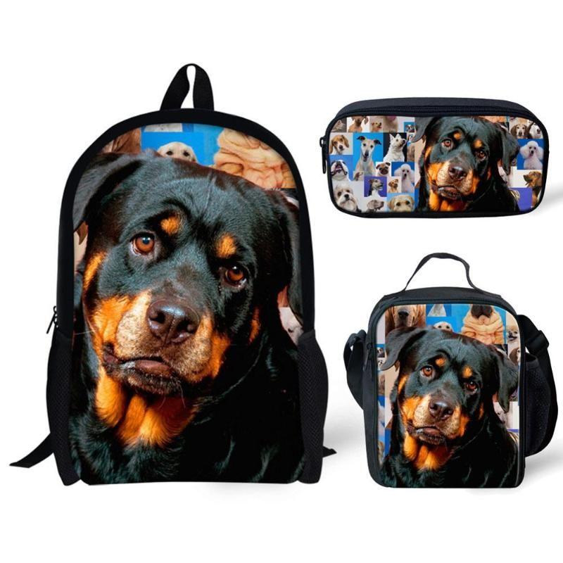 3pcs / Bags Set School Kids para meninos das meninas Dog Imprimir Shoulder Backpack Estudantes Saco de livro Large Shoulder Bookbag Adolescente Satchel