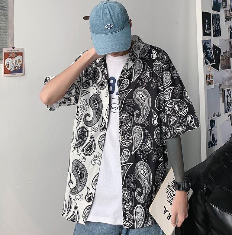Sommermens Designer-T-Shirts Hong Kong Art neue Art und Weise lose Shirts gedruckt Stitching Kurzarmhemd