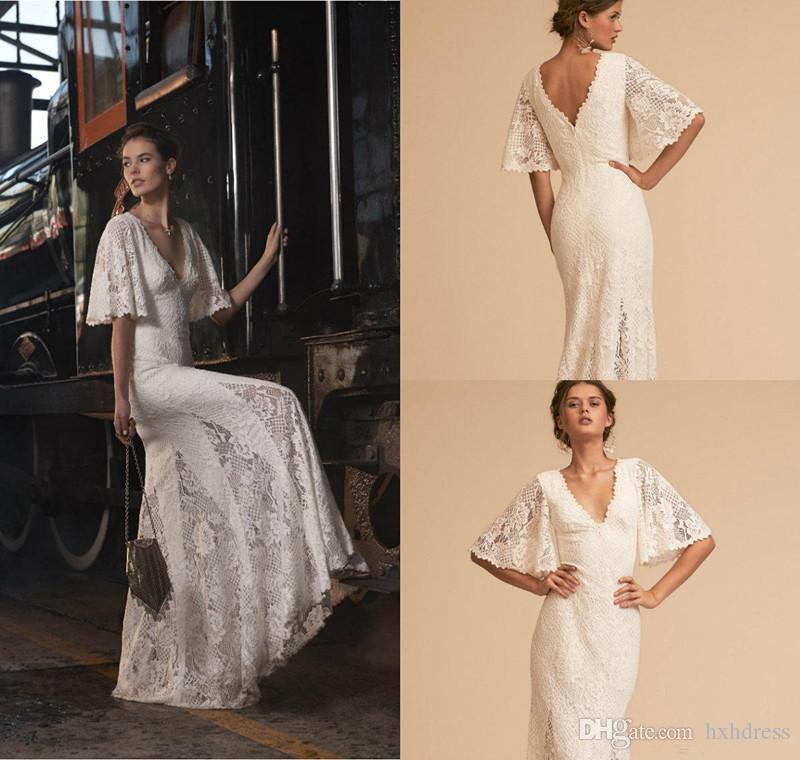 Nueva BHLDN sirena vestidos de novia cuello en V manga larga de la mitad de longitud de cordón elegante vestido de novia más el tamaño de vestidos de boda de calidad superior 4434