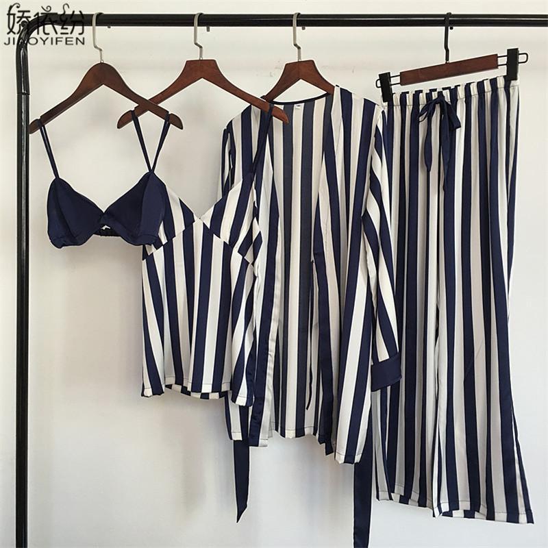 conjunto de pijama de satén de las mujeres ropa de dormir franja desgaste cómoda casa 4 piezas pijamas chaleco + sujetador + capa + pantalones de seda ropa de dormir