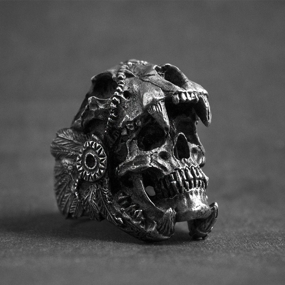Coole Herren Jungen 316L Edelstahl Biker Ringe Vintage Indian Jaguar Krieger Schädel Punk Ring Gothic Schmuck Geschenk für ihn Größe 7-14