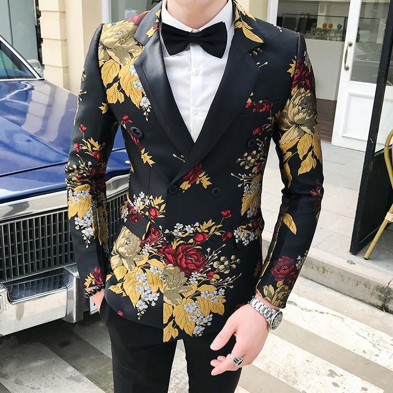 الخريف السترة hombre رجل الزهور الحلل عارضة النادي يتأهل الأزهار السترة masculino americana hombre رجل المرحلة ارتداء الذكية