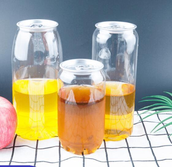 Plastic Beverage Bottle Pop Can 350ML 500ML 650ML Ring-pull Can Round Water Bottles Disposable food grade PET Juice Cups GGA3486