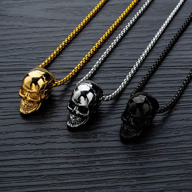 Панк из нержавеющей стали ожерелье нового прибытия супер готические ожерелье / Gothic черепа Байкер Подвеска Mens Череп ожерелье Punk