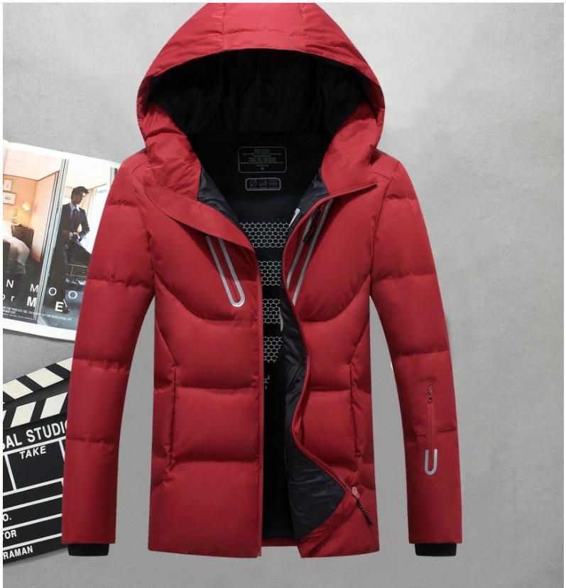 Commercio all'ingrosso uomini incappucciati esterno di inverno anatra Down Jacket Classic Spesso casuale cappotto con cappuccio Giù Outerwear Mens Warm 3colors Giacche Parka M-3XL