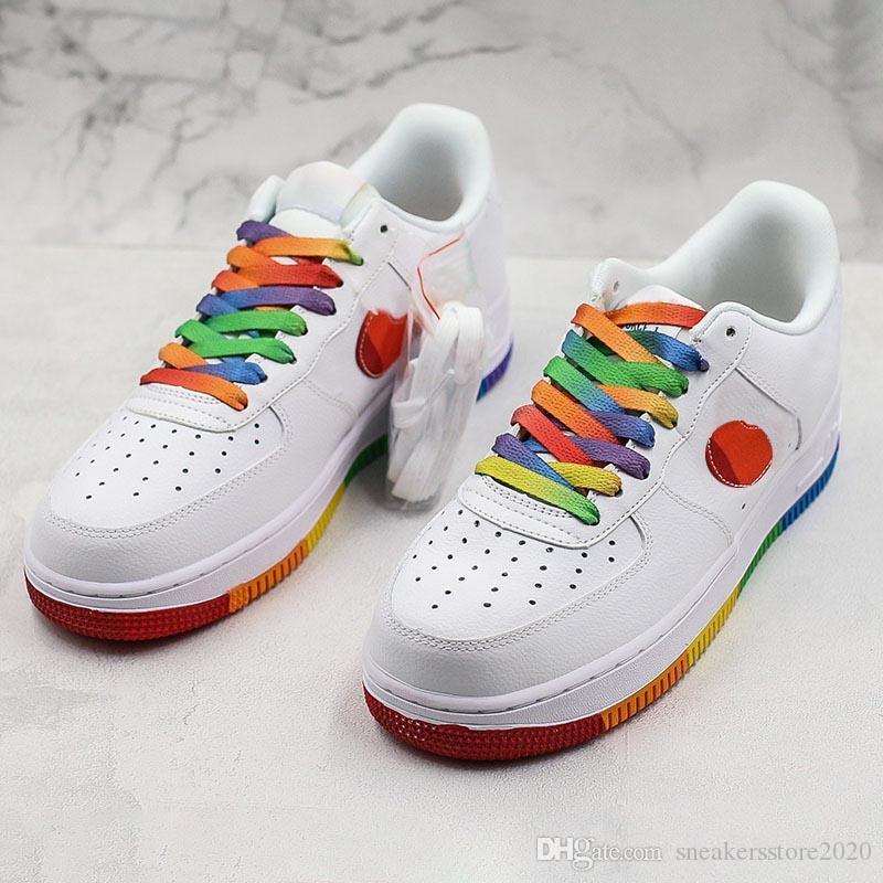NIKE Marca 1 1s 07 Sole Cuscino Designer taglio basso arcobaleno bianco scarpe da basket traspirante piattaforma della donna degli uomini di tendenza Sport Sneaker