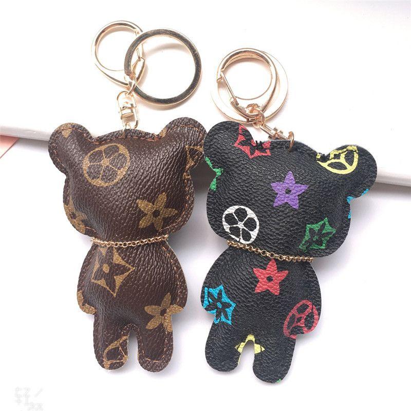 Venta caliente nueva moda llavero accesorios tassel llavero anillo PU cuero oso patrón coche llavero joyería bolsa encanto