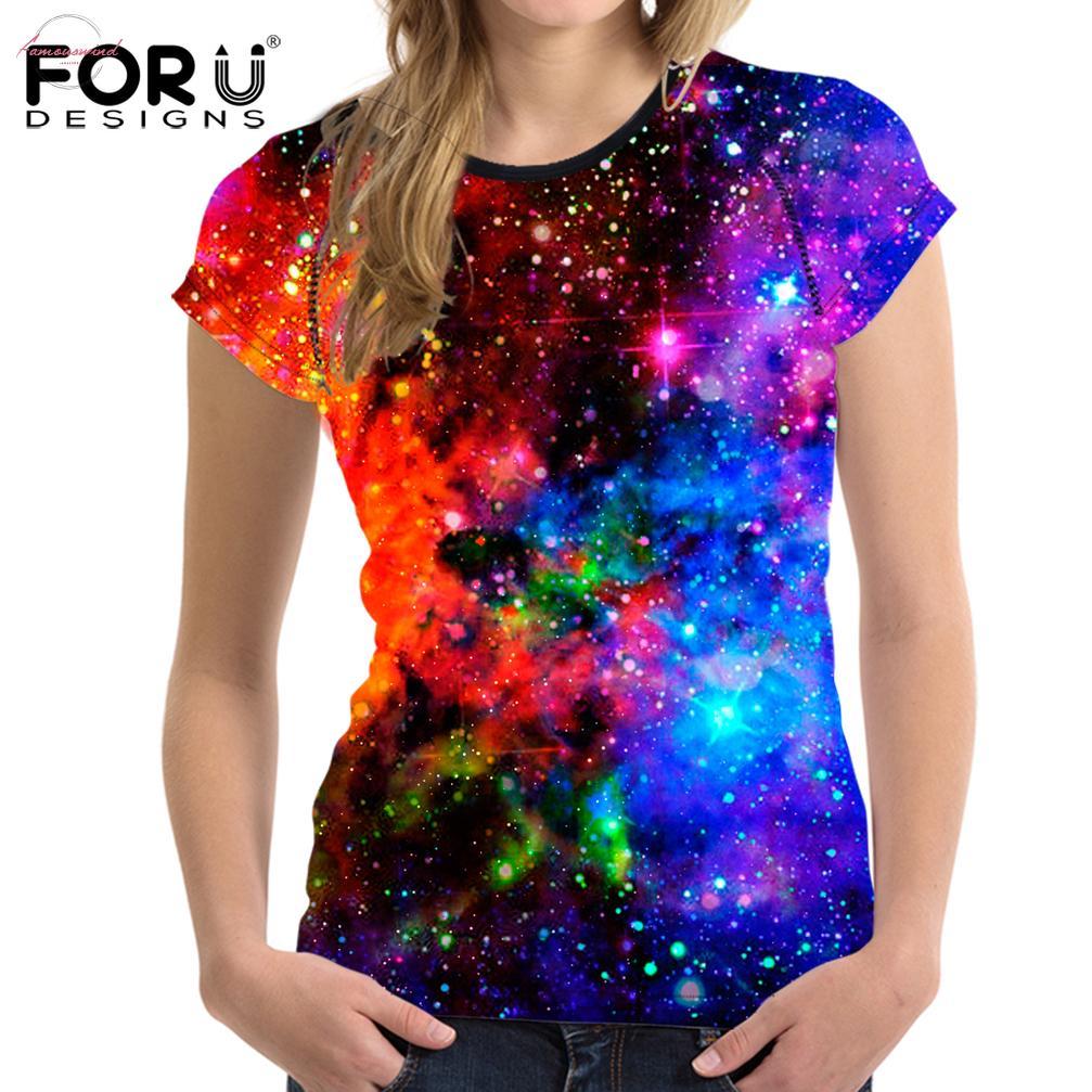 Mavi 3D Galaxy Baskı Kadınlar Tişörtlü Evren Yıldız Kadın Casual Kısa kollu Gömlek Mahsul Kadın Bodybuidling Tee Tops