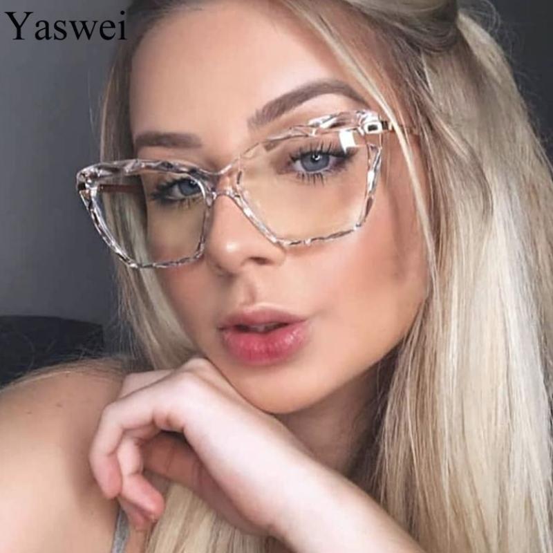 Vintage Kare Şeffaf Gözlük Kadınlar 2020 Yeni Şeffaf Lens Kedi Göz Sahte gözlükler Gözlük Çerçevesi Karşıtı Mavi Işık Gözlükler