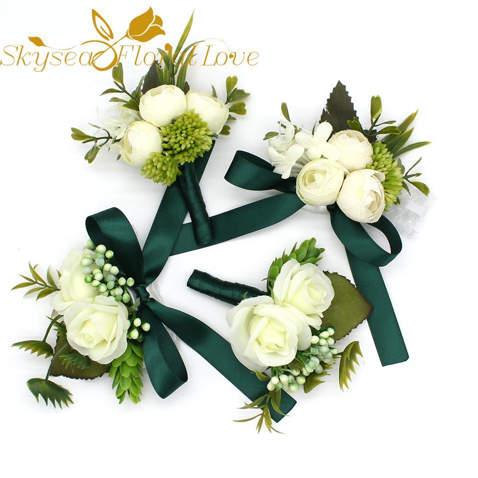 Wedding corsages and boutonnieres bride groom wrist decoration dark green flower brooch flower bouquet