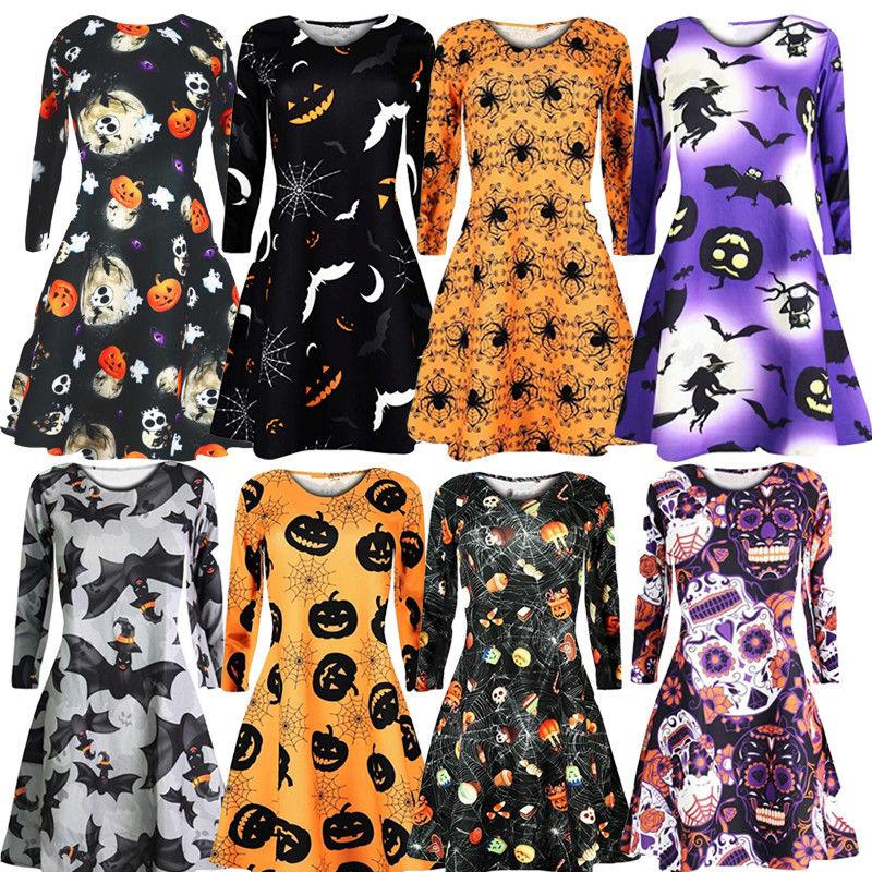 Women 2020 Dress Women Dresses Evening Party Clothes New Autumn Ladies Mini Dresses Women Printing Long Sleeve O Neck Dress