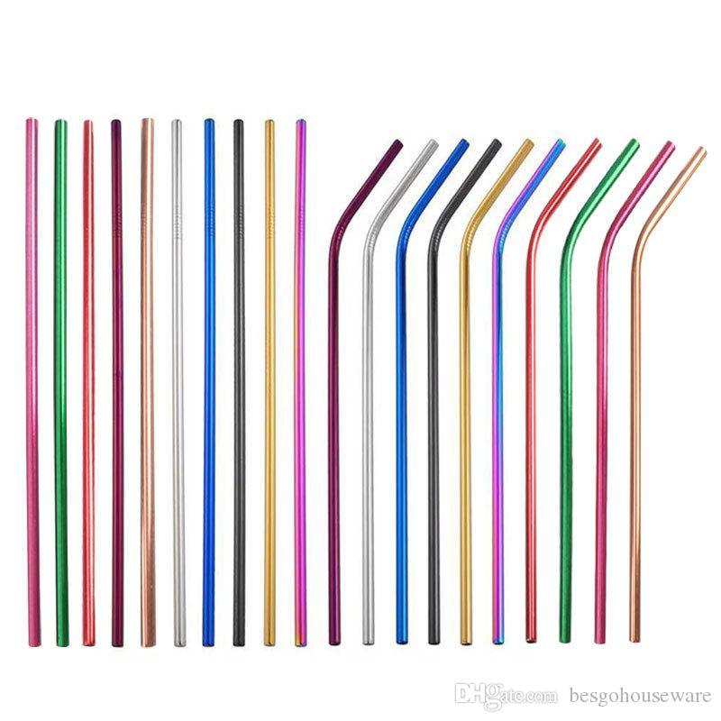 Pailles colorées réutilisables en métal pailles BH1729 TQQ écologiques d'acier inoxydable 304 de pailles 6 * 215mm coudées droites