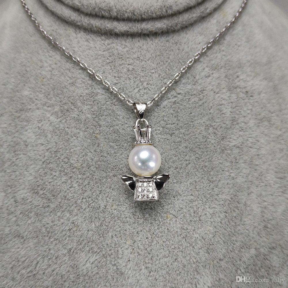 Silver Material Necklace Women Girls Angel Pearl Pendant Necklaces White Wedding White 45CM