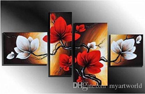 4 piezas de arte floral, pintado a mano moderno abstracto arte de la pared pintura al óleo decoración del hogar sobre lienzo múltiples tamaños / opciones de marco 05