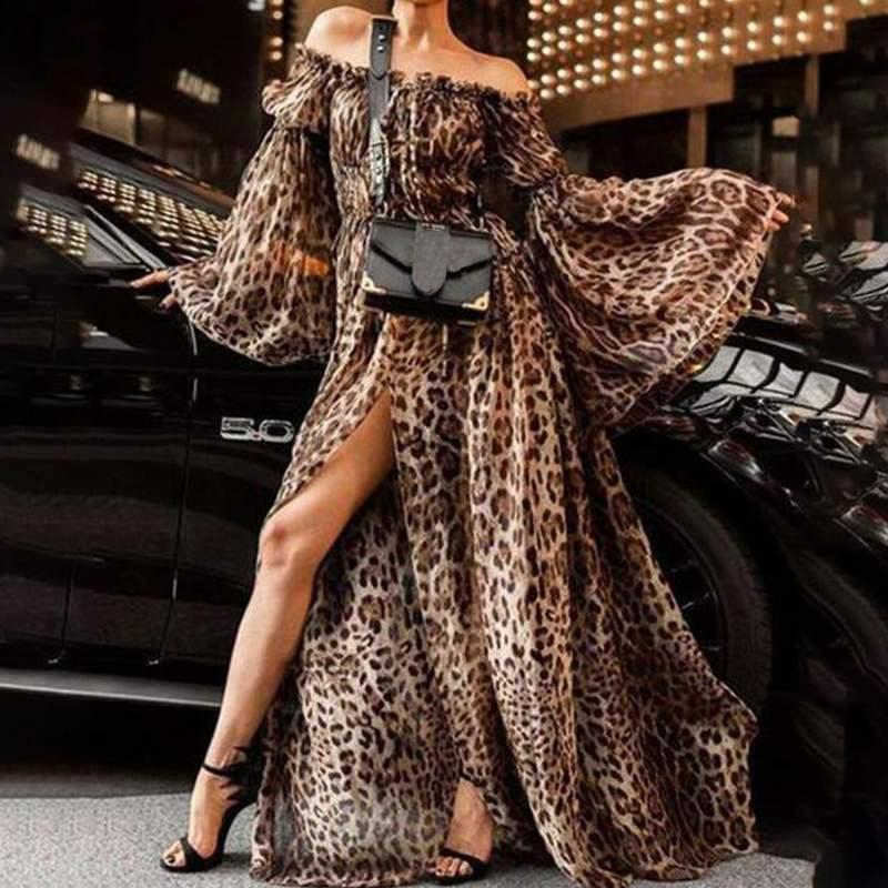 Chic Boho Dress 2019 Hot Women Sexy Off spalla Summer Beach Abiti Mujer Bohemian manica lunga High Split Leopard Maxi Dress
