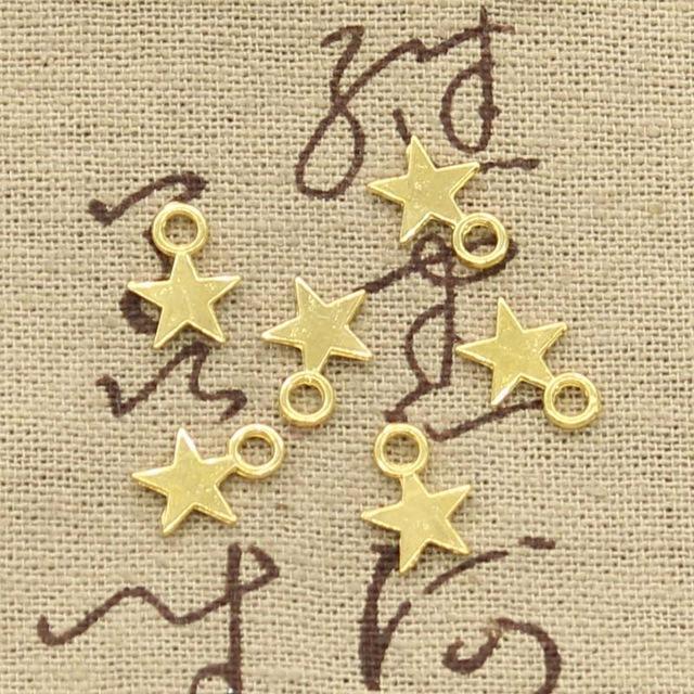 100pcs Charms Star 11x8mm Handmade Craft Pendant Making fit,Vintage Tibetan Bronze Silver color,DIY For Bracelet Necklace