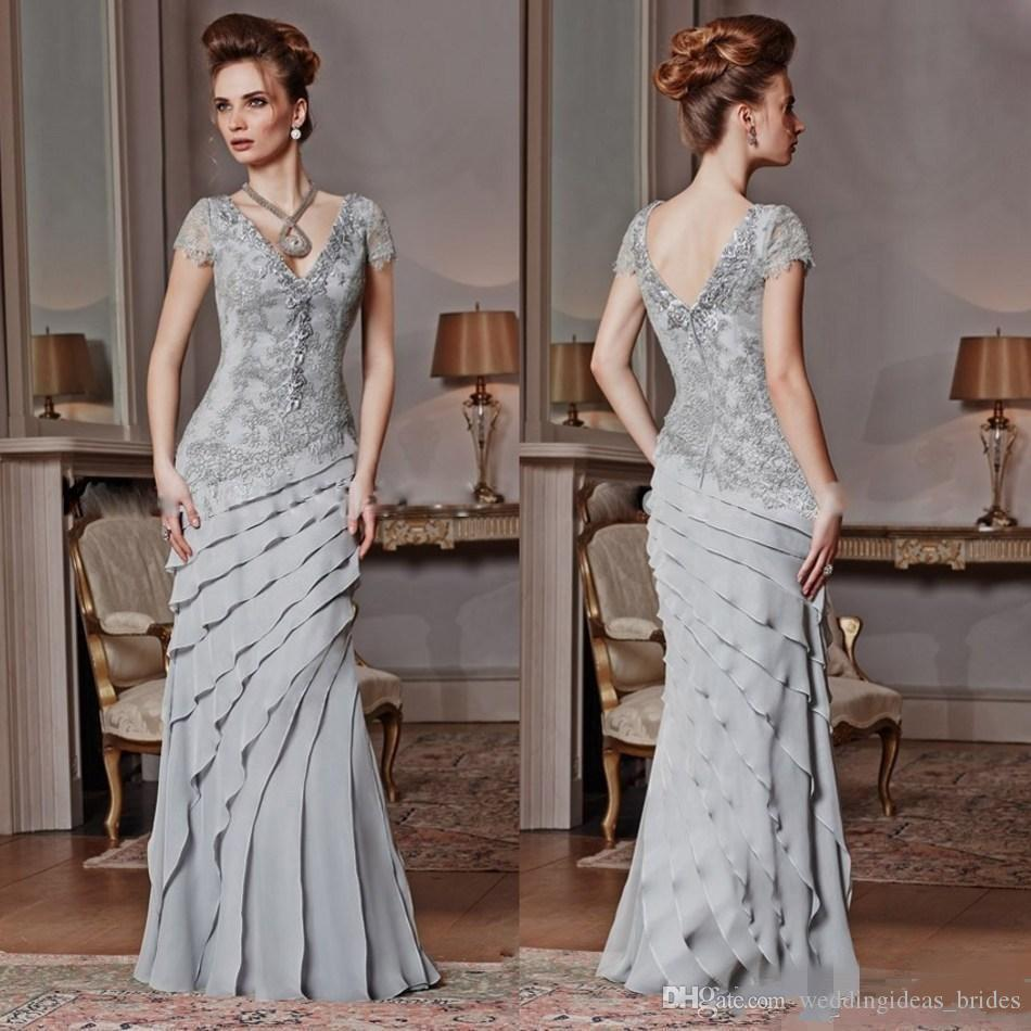Elegant Silver Mother Of The Bride Dresses Long Cap Short Sleeve Lace  Appliques Formal Evening Gowns Ruffles Wedding Guest Dress Plus Size Mother  Of ...