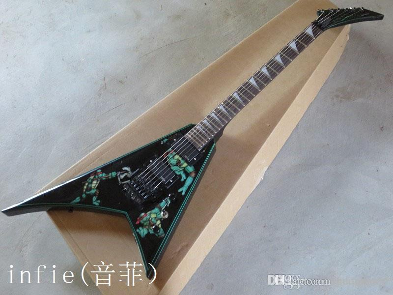 free shipping High Quality 2019 New factory guitar Custom Black Flying V Electric Guitar