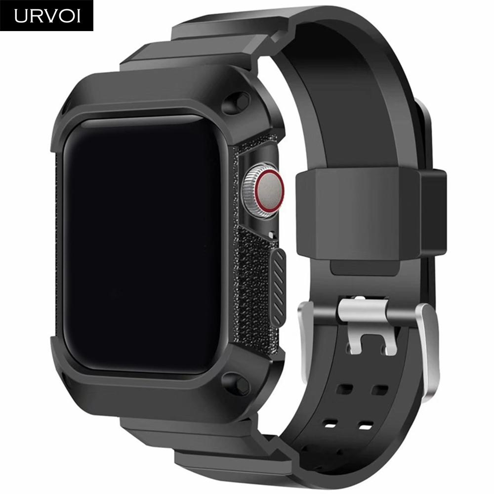 Оптовая силиконовая лента с крышкой для apple watch 4 ремешок чехол для iwatch протектор спортивная группа дышащая 40 44 мм