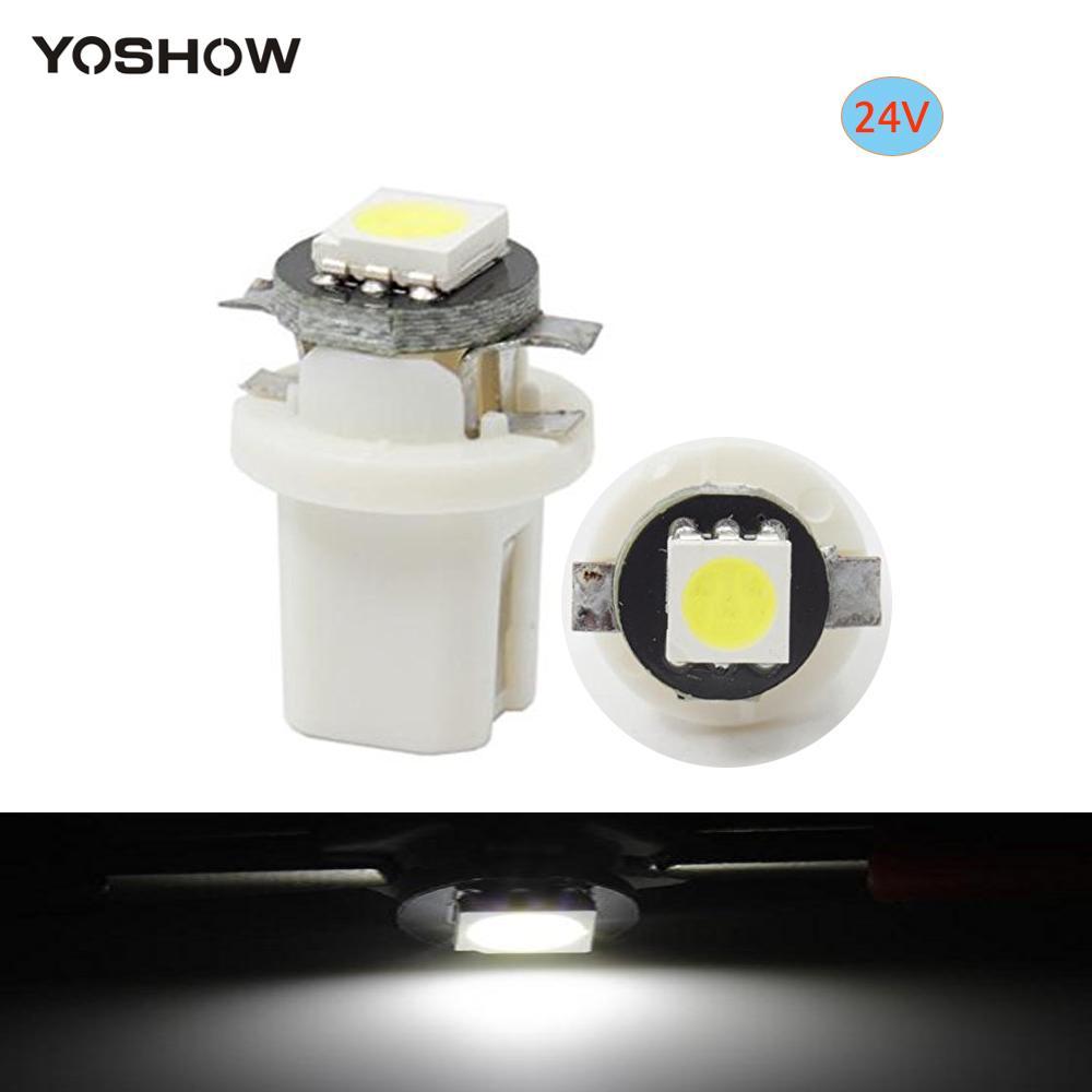 50pcs24v B8.5B8.5D1SMD LED 전구 정리 빛 자동 램프 쐐기 계기 빛 대쉬보드 지시자 백색 전구