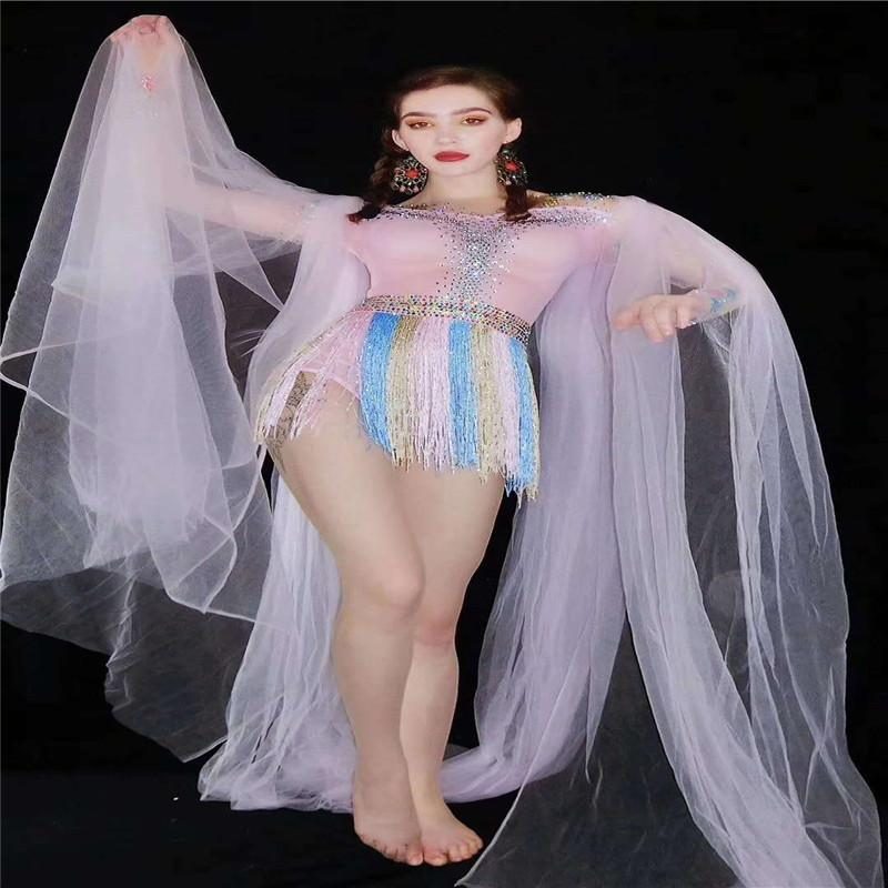 V10 Feminino pólo vestido da dança rosa strass borla bodysuit de manga comprida de malha curto macacão bar desgaste disco dj cristal partido roupas siamese