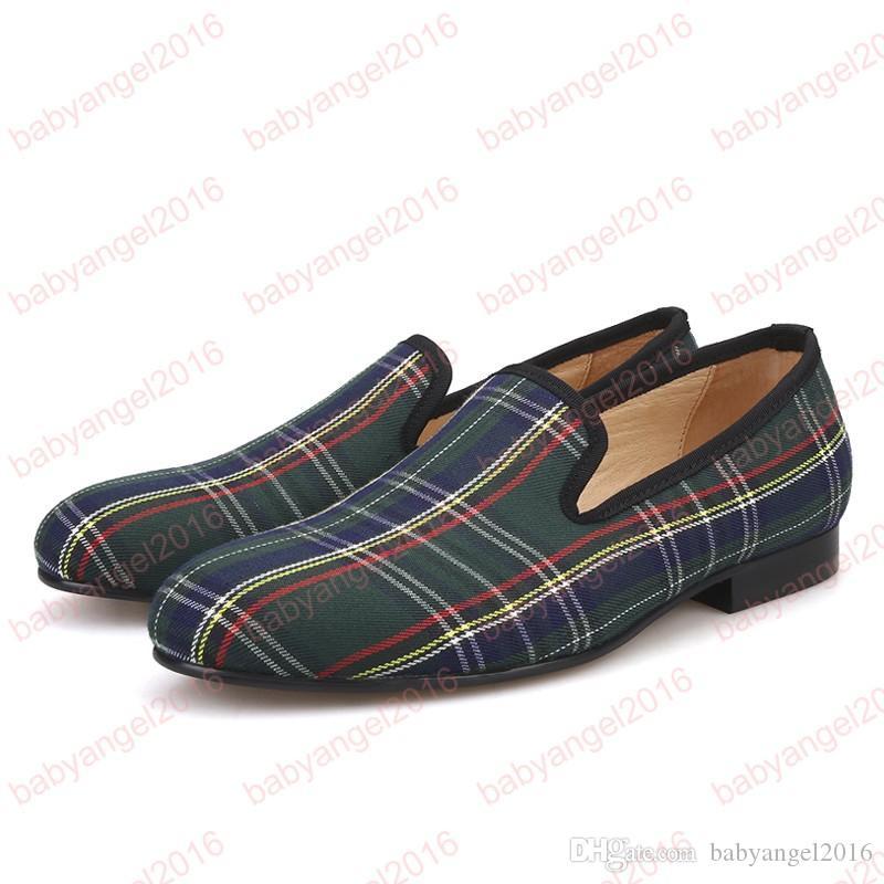 Tela escocesa Zapatos de hombre Mocasines casuales rojos y azules Banquete y baile de fin de curso Pisos más tamaño Envío gratis