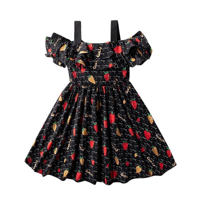 Robe Toddler Enfants Bébés filles Volants Fruit Bracelet Imprimer été Princesse Casual Robe ample plage Robes Vestidos layette