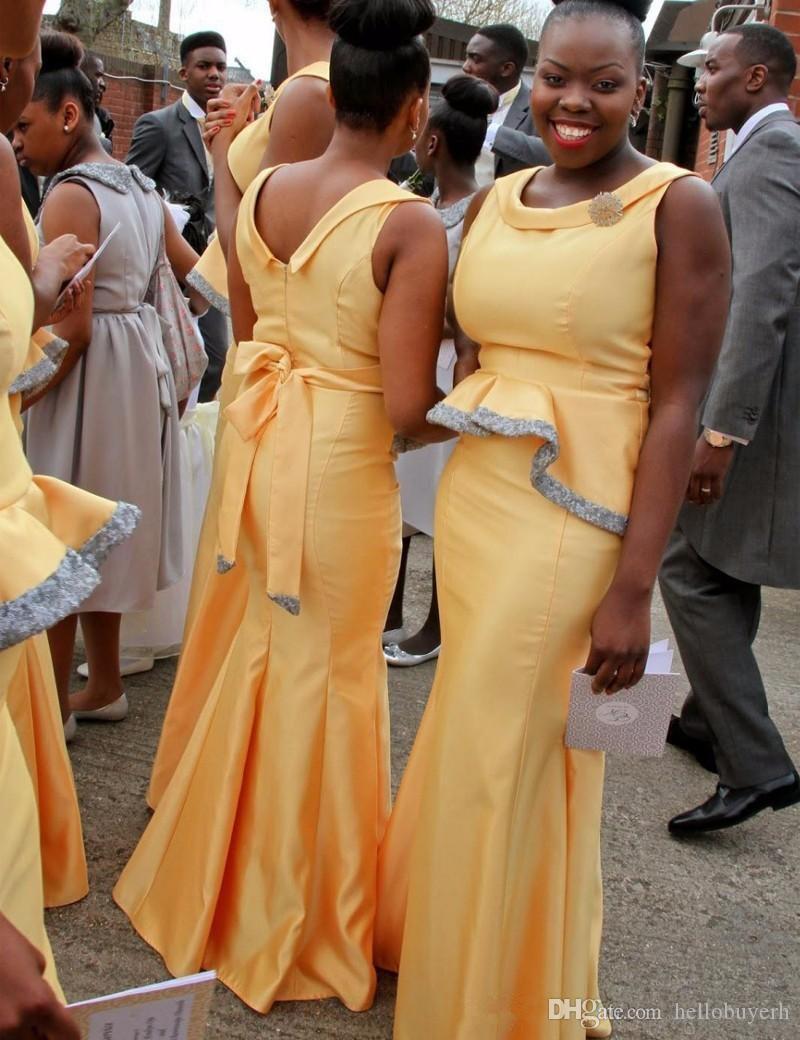 Teffeta Yellow Mermaid Plus Size Abiti da damigella economici 2020 New Black Girls Prom Dresses Abiti lunghi da damigella d'onore