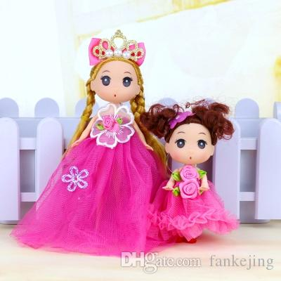12CM Small Babyding Doll Mini Wedding Princess Doll Key Button Hanging Girl Toy Gift