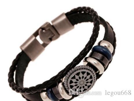 Neue europäische und amerikanische Schmuck geflochtenen Vintage-Leder-Armband 20pcs / lot W988