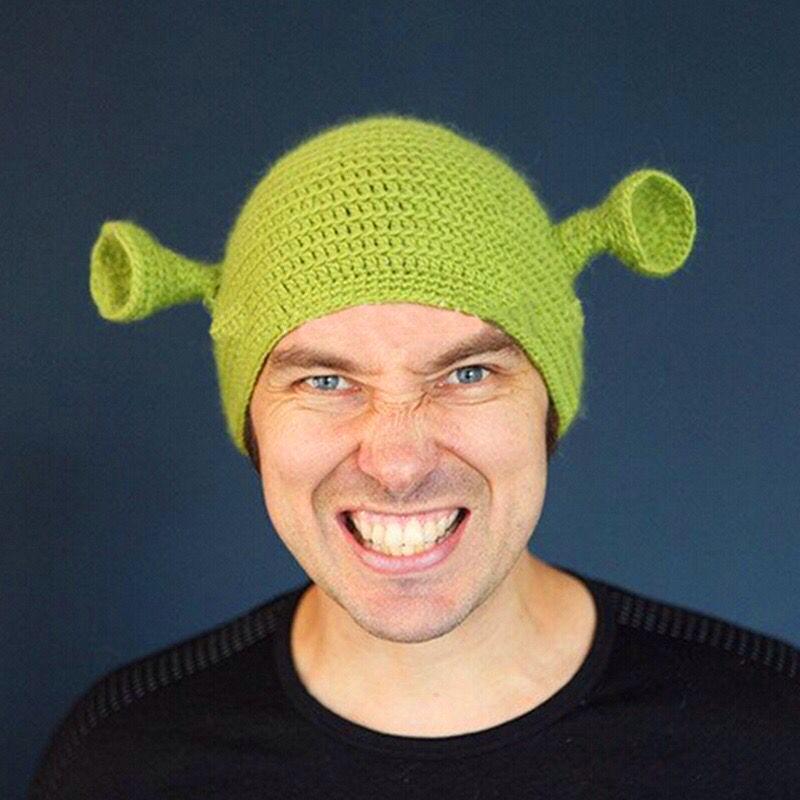 Симпатичные Шрек Смешные мужчины Hat Вязание Зеленый монстр Skullies Hat с ушками Hat Winter Новизна Beanie Skullies Для женщин Для мужчин Halloween Party Knit Cap