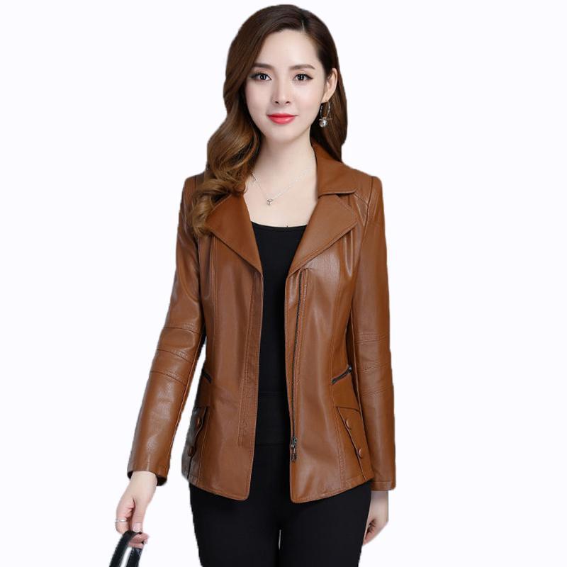 Artı boyutu 6XL2019 İlkbahar ve Sonbahar Yeni Deri Ceket Kadın Giyim Kısa Slim Ceket Kadın Deri Ceket Bayan Dış Giyim