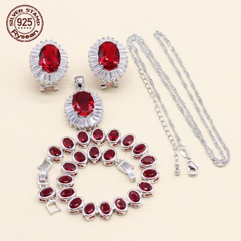 Ensemble de bijoux en argent 925 pour femmes cadeau collier pendentif cerceau boucles d'oreilles Bracelet ovale rouge blanc semi-précieux