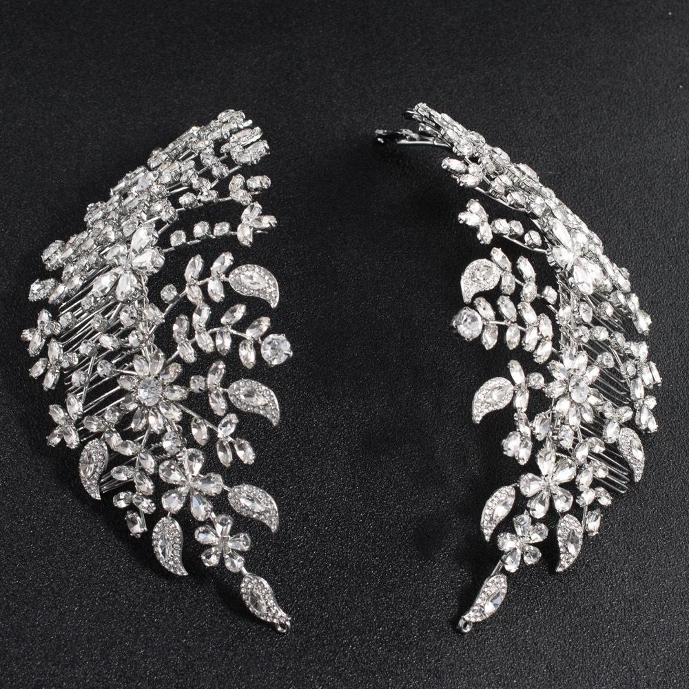 Classic Clear Crystals Rhinestone Big Bridal Wedding Headbands Hair Combs Women Tiara Adjustable Hair Jewelry Headpiece Hg085 Y19061503