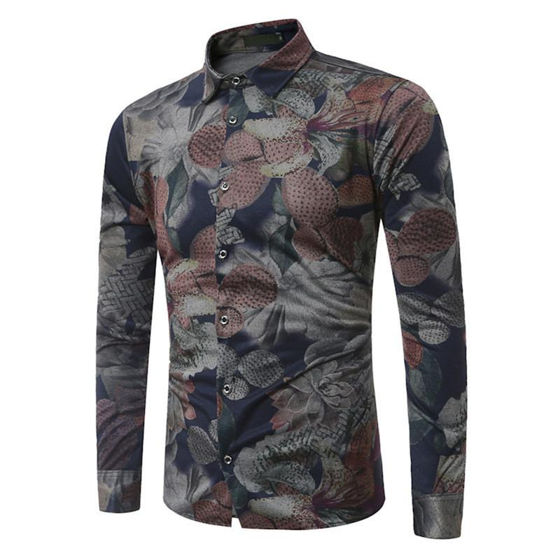 Plus Size 7XL Fashion Shirt Men Vintage Flowers Printed Clothing Elegant Dinner Wear Male Blouse Mature Man Tops Business Casual
