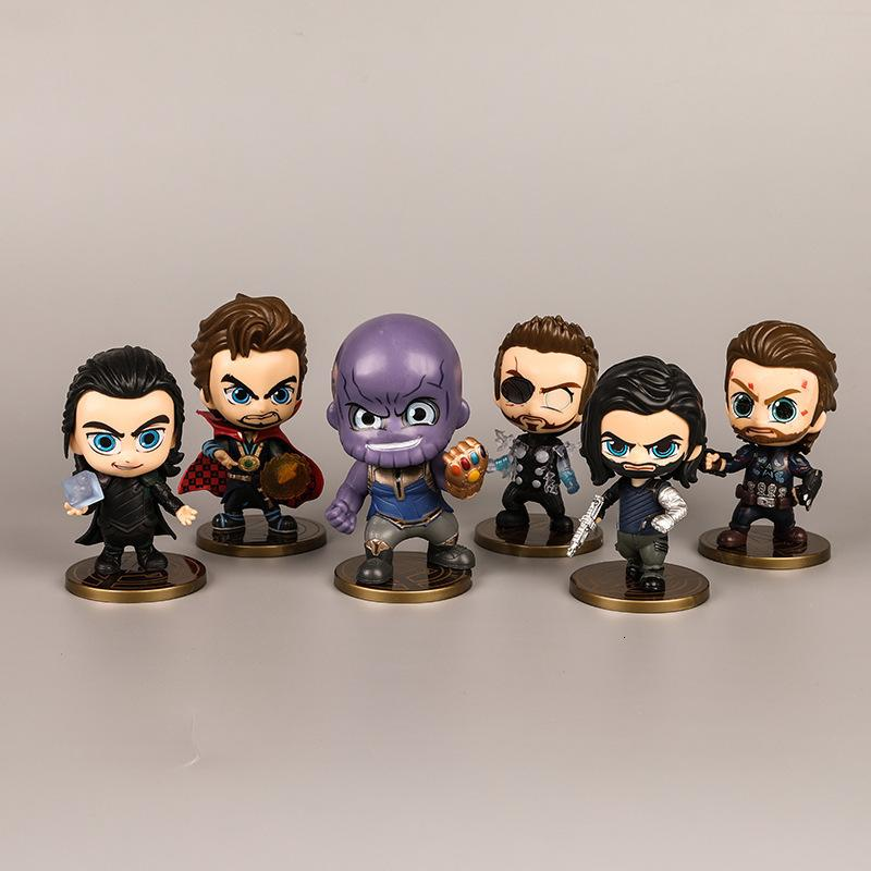6pcs/Sets Marvel Anime Movie Fighter Hand Toys Avengers Action Figure PVC Collection Model Dolls Gifts For Kids