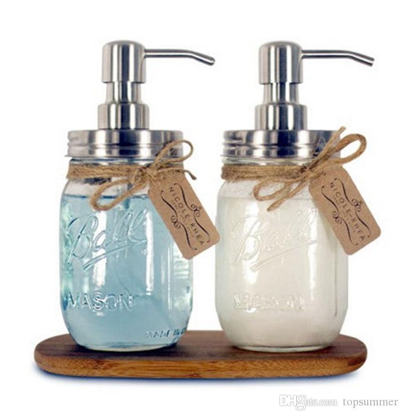 480ML Hand Soap Dispenser Stainless Steel pump Mason Jar Countertop Soap Lotion Dispenser polish chrome ORB golden In stock