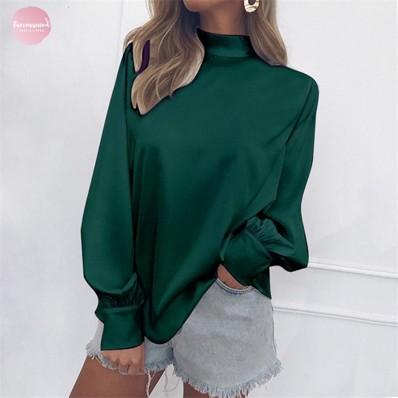 Spring Fashion Blusa Outono capuz Mulheres Long Sleeve Lanterna gola regular Feminino Silk shirt Tops Sólidos Casual