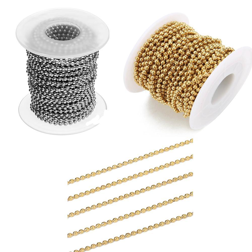 10YARDS / لفة الفولاذ المقاوم للصدأ الكرة الخرزة سلاسل السائبة لDIY سوار قلادة النتائج مجوهرات جعل اكسسوارات ذهبية فضية اللون