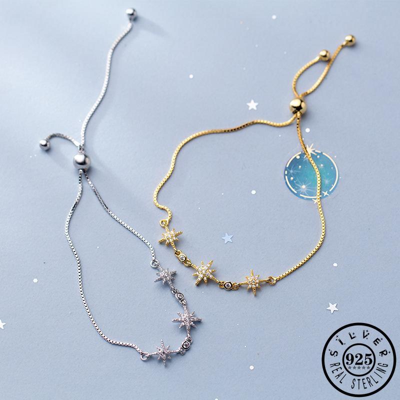 Moda 925 plata esterlina cubic ZIRCON forma de estrella declaración oro color plateado cadena ajustable mano encanto pulsera para las mujeres