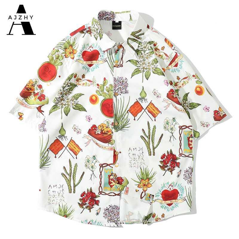 Fashions Vintage Hawaiian Shirt Men Harajuku Oil Painting Print Shirts Streetwear Hip Hop Casual Short Sleeve Shirts Men Clothes